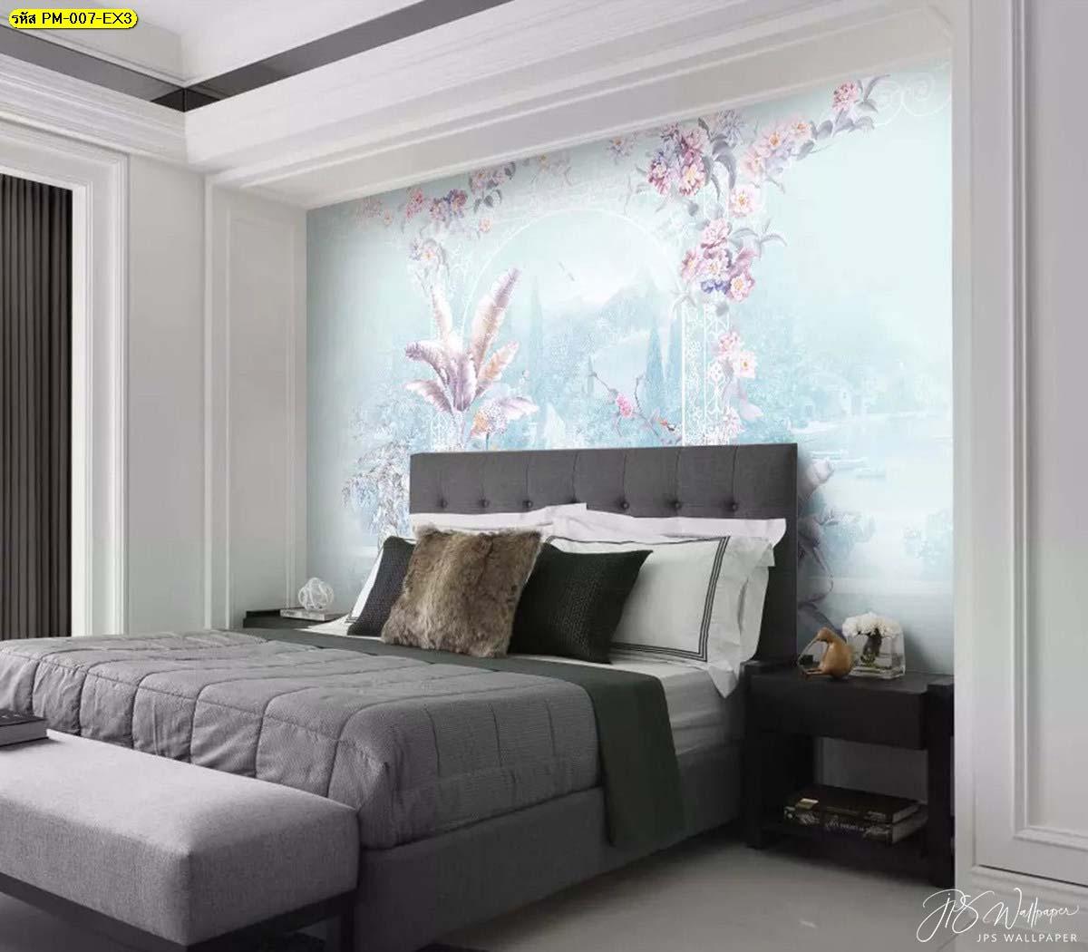 วอลเปเปอร์ติดห้องนอน วอลเปเปอร์ติดพื้นหลังลายสวนดอกไม้เกรดพรีเมี่ยมสีฟ้าพาสเทล