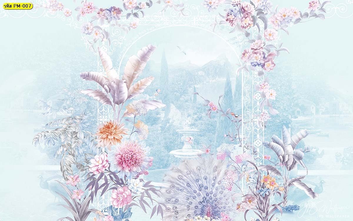 วอลเปเปอร์สั่งพิมพ์ วอลเปเปอร์ติดพื้นหลังลายซุ้มสวนดอกไม้เกรดพรีเมี่ยมสีฟ้า