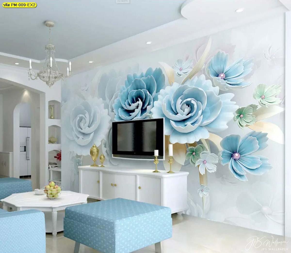 ภาพติดผนังหลังทีวี ห้องรับแขกตกแต่งหรู วอลเปเปอร์ดอกไม้ใหญ่สีฟ้าสามมิติ