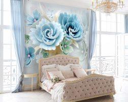 ห้องนอนเตียงเจ้าหญิงในห้องสาวๆ กับวอลเปเปอร์ดอกไม้สามมิติ