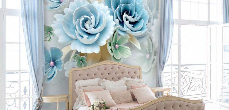 วอลเปเปอร์ลายดอกไม้สีฟ้าสามมิติเกรดพรีเมี่ยม รหัส PM-009