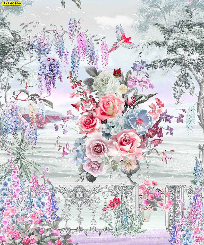 วอลเปเปอร์พรีเมี่ยมลายสวนดอกไม้ริมทะเลสีเทา ภาพพิมพ์ติดผนังขนาดใหญ่