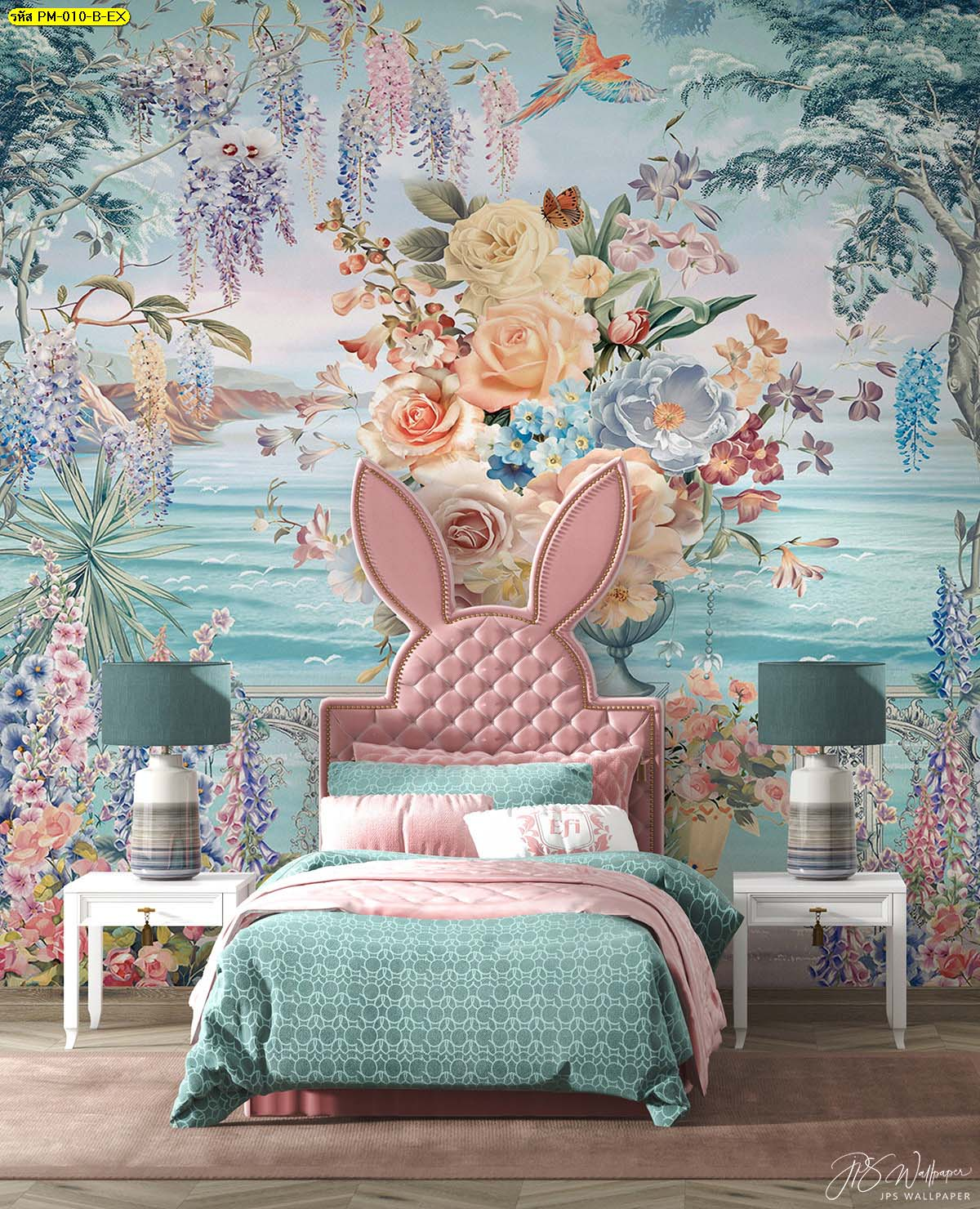 วอลเปเปอร์ติดห้องนอนเด็กลายสวนดอกไม้ริมทะเลสีฟ้า ภาพติดผนังเสริมจินตนาการ