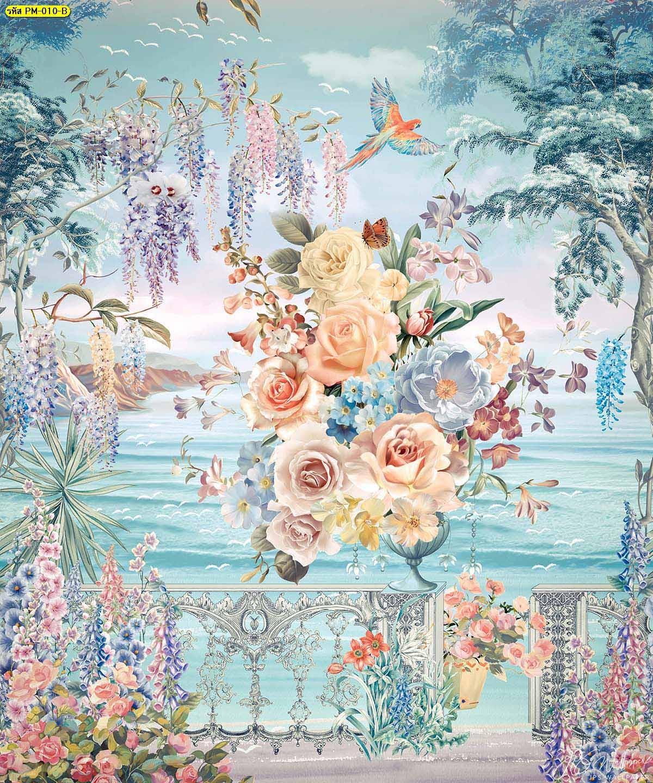 วอลเปเปอร์พรีเมี่ยมลายสวนดอกไม้ริมทะเลสีฟ้า ภาพพิมพ์ติดผนังขนาดใหญ่