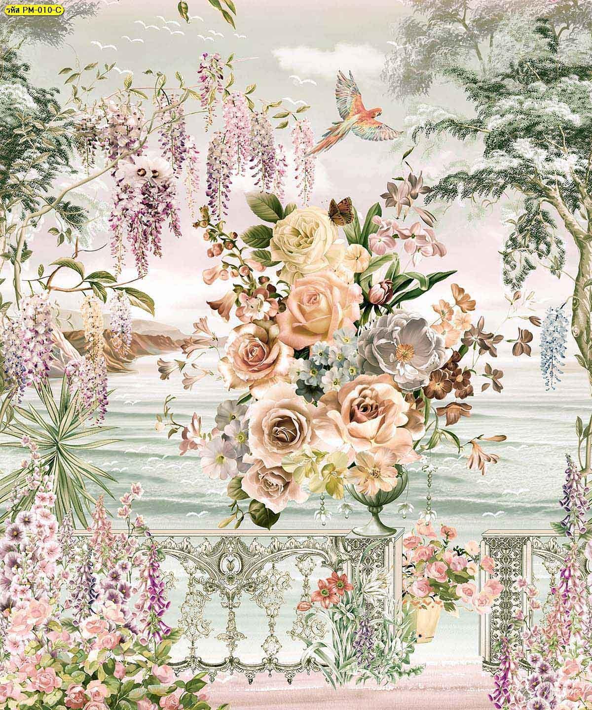 วอลเปเปอร์พรีเมี่ยมลายสวนดอกไม้ริมทะเลสีน้ำตาล ภาพพิมพ์ติดผนังขนาดใหญ่