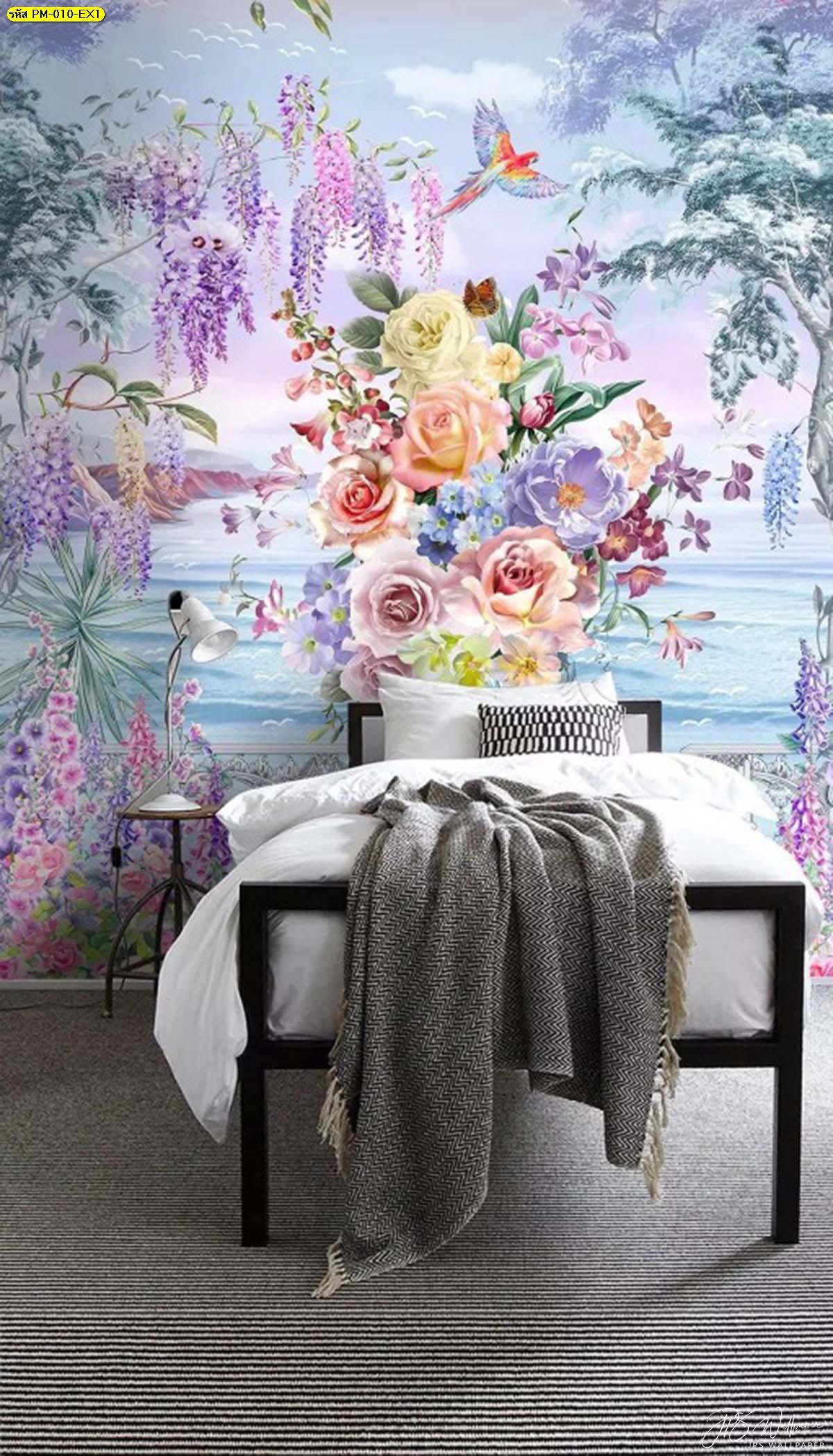 วอลเปเปอร์ติดห้องนอนพรีเมี่ยมลายสวนดอกไม้ริมทะเลสีม่วง ภาพพิมพ์ติดผนังขนาดใหญ่