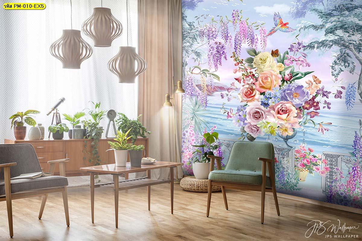 วอลเปเปอร์ติดห้องนั่งเล่นพรีเมี่ยมลายสวนดอกไม้ริมทะเลสีม่วง ภาพพิมพ์ติดผนังขนาดใหญ่