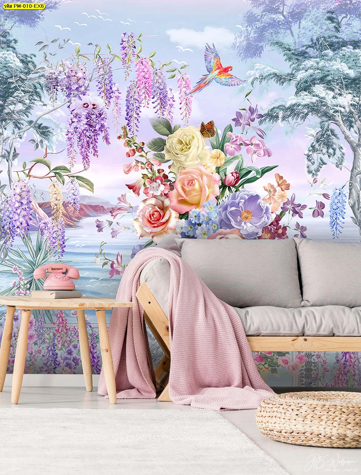 วอลเปเปอร์ติดห้องนั่งเล่นพรีเมี่ยมลายสวนดอกไม้ริมทะเลสีม่วง ภาพสั่งพิมพ์ขนาดใหญ่