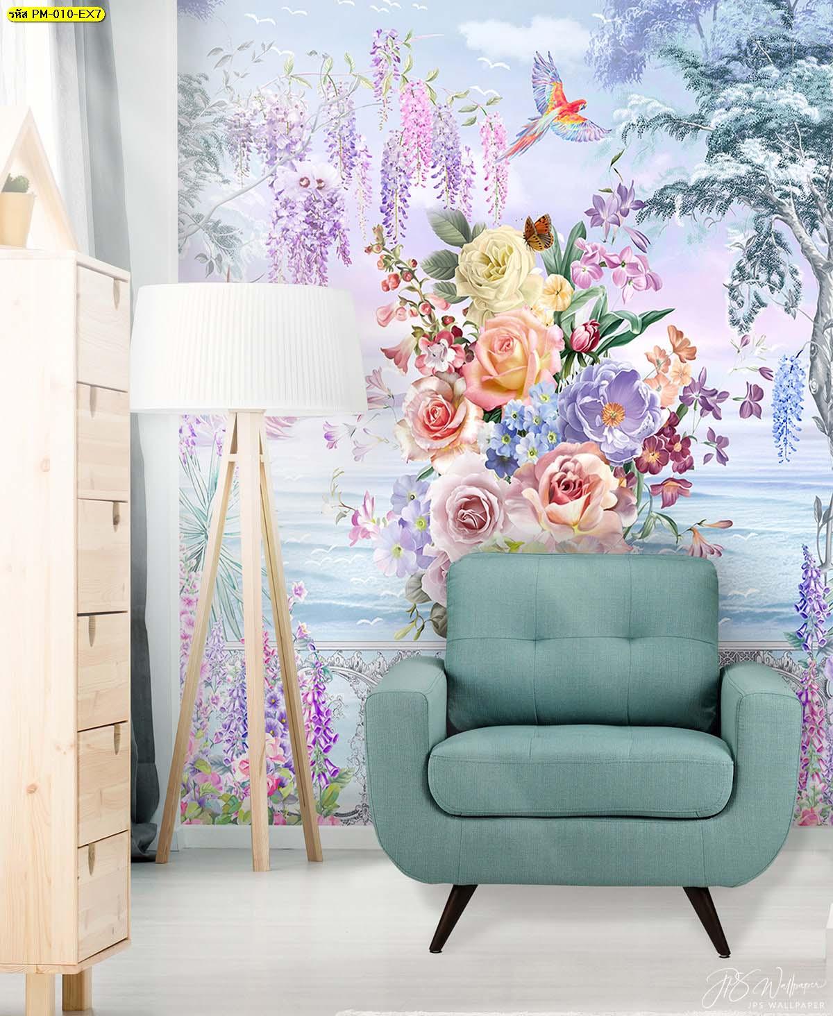วอลเปเปอร์ลายสวยๆติดห้องนั่งเล่น วอลเปเปอร์ลายสวนดอกไม้
