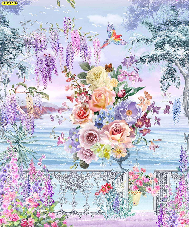 วอลเปเปอร์พรีเมี่ยมลายสวนดอกไม้ริมทะเลสีม่วง ภาพพิมพ์ติดผนังขนาดใหญ่
