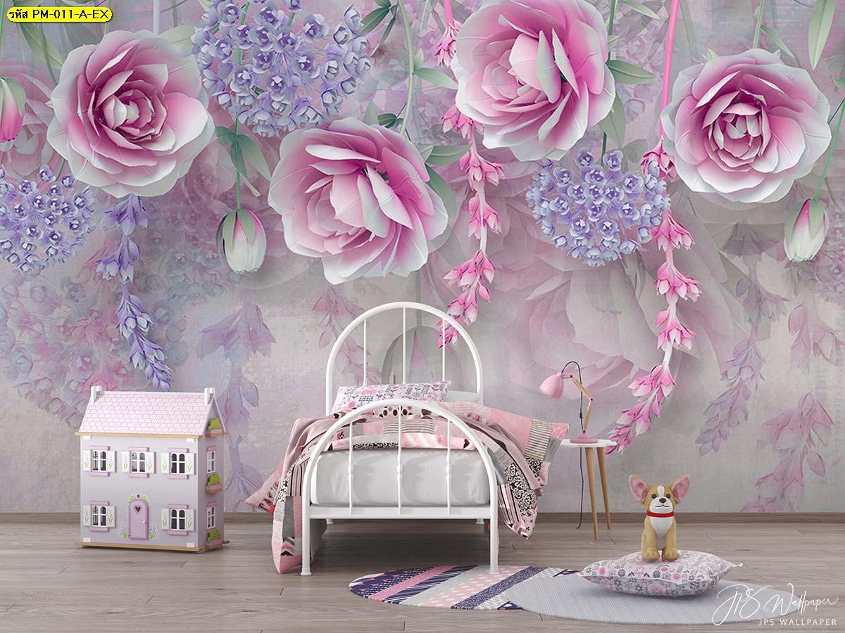 ห้องนอนเด็กลายดอกไม้สีชมพูน่ารักสดใส ถูกใจเด็กๆ