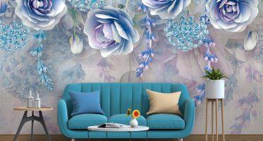 แบบห้องนั่งเล่นสีสบายตาเติมความโดดเด่นด้วยโซฟาสีฟ้าสด