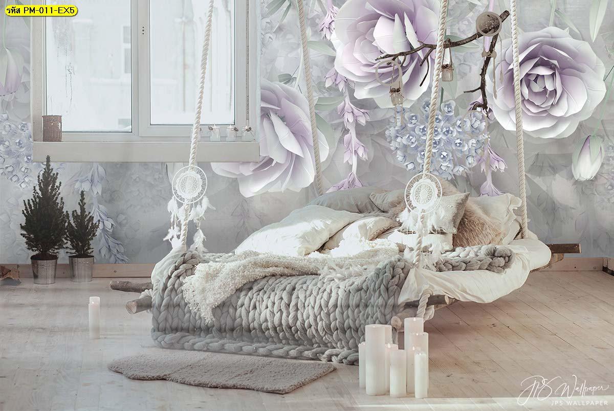 เพิ่มไฮไลท์พื้นที่พักผ่อนด้วยเตียงแขวน มีผนังลายดอกไม้ล้อมรอบดูมีเสน่ห์มากๆ