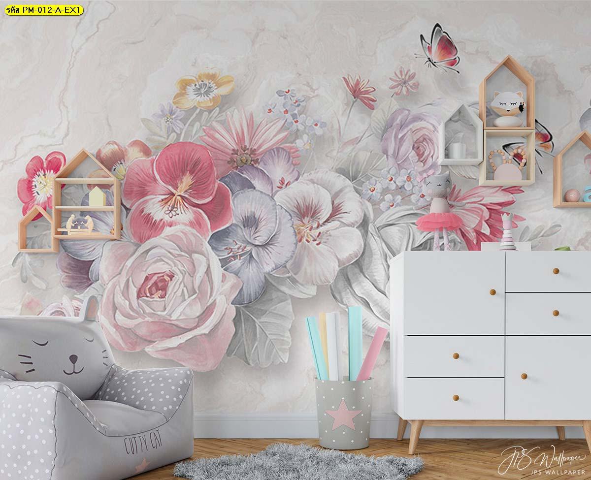 พื้นหลังห้องนั่งเล่นเด็ก วอลเปเปอร์ลายดอกไม้สีพาสเทล