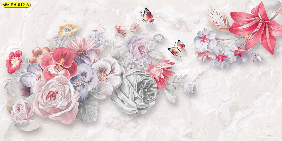 วอลเปเปอร์ภาพพิมพ์ดอกไม้หลายสีโทนพาสเทลดอกไม้สีเข้ม