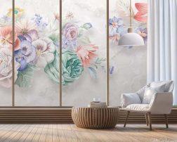 พื้นหลังห้องนั่งเล่นพื้นไม้ วอลเปเปอร์ลายดอกไม้สีพาสเทลในห้องเฟอร์นิเจอร์ไม้