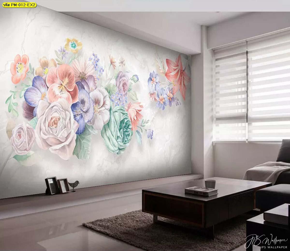 วอลเปเปอร์ลายดอกไม้สีพาสเทล ห้องรับแขกเรียบๆ ตกแต่งภาพพิมพ์ลายดอกไม้