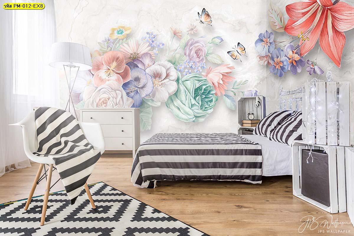 ห้องนอนสวยๆตกแต่งด้วยภาพติดผนังสีพาสเทล ภาพพิมพ์ลายดอกไม้