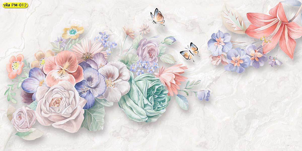 วอลเปเปอร์ภาพพิมพ์ดอกไม้หลายสีโทนพาสเทล ดอกไม้สีอ่อน