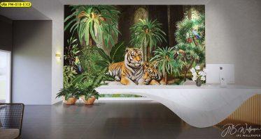 พื้นที่ล็อบบี้ในโรงแรมประดับผนังด้วยภาพสั่งพิมพ์ลายเสือ สวยงาม อลังการ