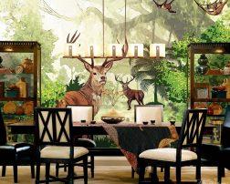 ออกแบบห้องอาหารขนาดใหญ่ลายกวางในสวนป่าโทนสีเขียว