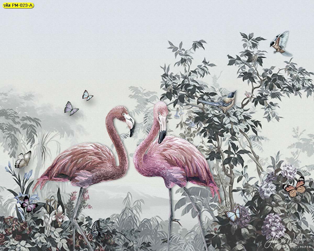 วอลเปเปอร์ลายนกฟลามิงโก้โทนเย็น ภาพสั่งพิมพ์ลายฟลามิงโก้ ภาพสวนป่า
