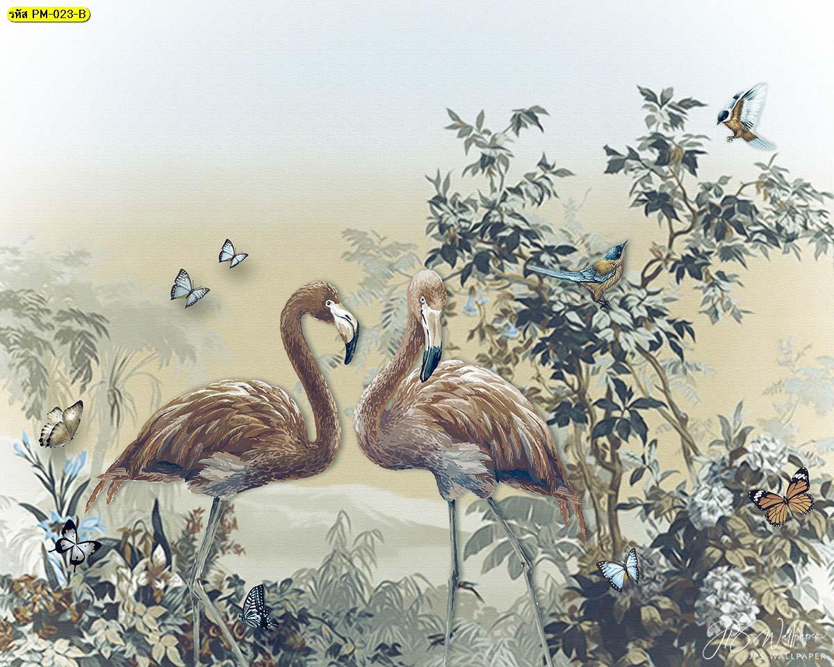 วอลเปเปอร์ลายนกฟลามิงโก้โทนสีน้ำตาล ภาพสั่งพิมพ์ลายฟลามิงโก้ ภาพสวนป่า