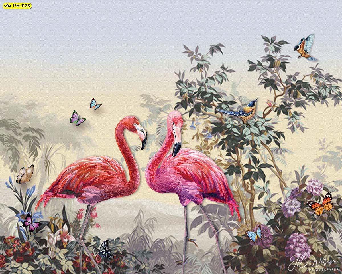 วอลเปเปอร์ลายนกฟลามิงโก้โทนสีเข้ม ภาพสั่งพิมพ์ลายฟลามิงโก้ ภาพสวนป่า