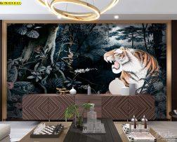 ล็อบบี้โรงแรมตกแต่งวอลเปเปอร์ลายเสือโคร่งคำรามในป่าโทนสีเข้ม