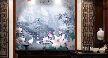 สไตล์การแต่งห้องจีน ห้องจิบชากาแฟ วอลเปเปอร์ดอกบัวในธารน้ำ