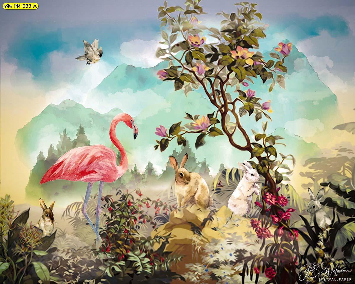 วอลเปเปอร์ลายฟลามิงโก้กระต่ายในสวนป่าโทนอบอุ่น