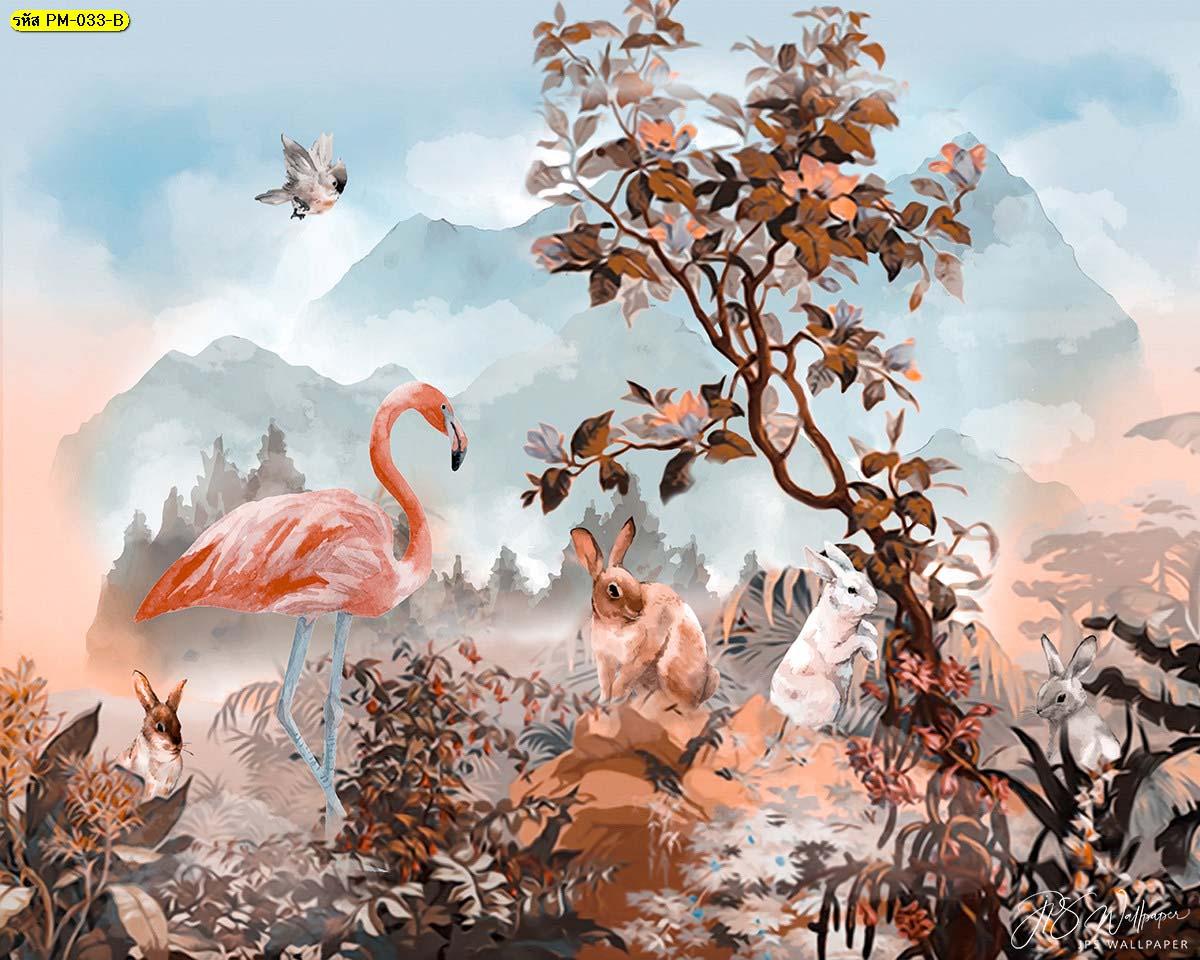 วอลเปเปอร์ลายฟลามิงโก้กระต่ายในสวนป่าโทนสีส้มฟ้า