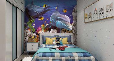 ติดภาพใต้ท้องทะเลกว้างในห้องนอนให้ลูกเรียนรู้ธรรมชาติและเสริมจินตนาการได้อย่างดี วอลเปเปอร์ปลาโลมา