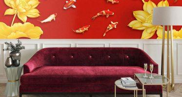 ใช้สีขาวจากกำแพงและโคมไฟ มาเป็นตัวช่วยตัดสีแดงไม่ให้จัดจ้านเกินไป