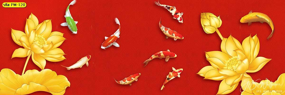 วอลเปเปอร์ปลาคราปเก้าตัวในสระบัวทอง ปลามงคล ภาพเสริมฮวงจุ้ย