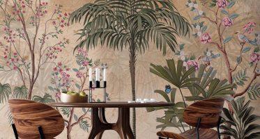 โรแมนติกในห้องอาหารสวนดอกไม้สไตล์วินเทจย้อนยุค วอลเปเปอร์ดอกไม้วินเทจ