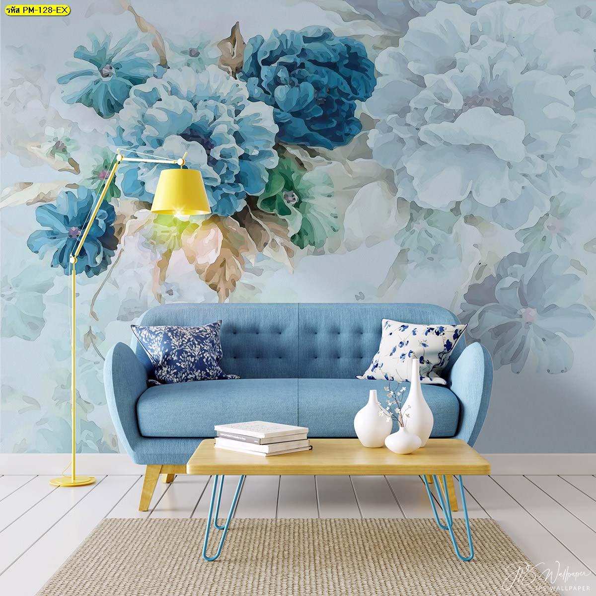 สงบ เย็นสบาย ในห้องนั่งเล่นโทนสีฟ้าจับคู่กับเฟอร์นิเจอร์สีเหลืองน่ารักๆ