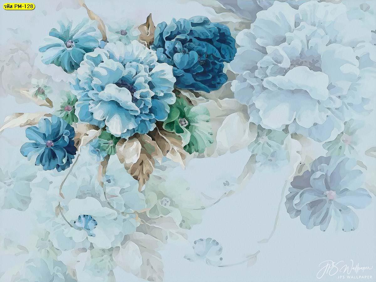 วอลเปเปอร์ภาพสีน้ำดอกไม้สีฟ้า ภาพดอกไม้สีน้ำ ดอกไม้สีฟ้า