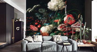 เพิ่มความโดดเด่นในห้องนั่งเล่นด้วยวอลเปเปอร์ดอกไม้สีสันสดใส