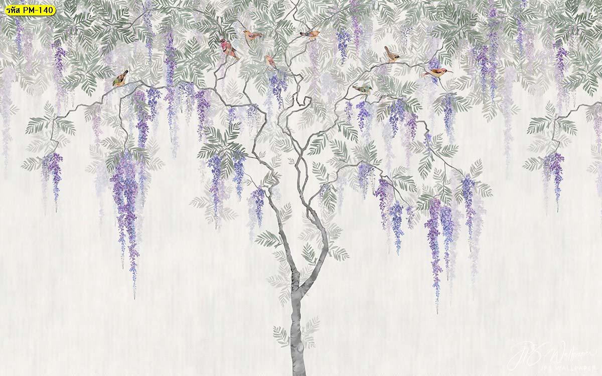วอลเปเปอร์ต้นไม้กับนกโทนสีขาว ภาพวาดต้นไม้ นกบนต้นไม้