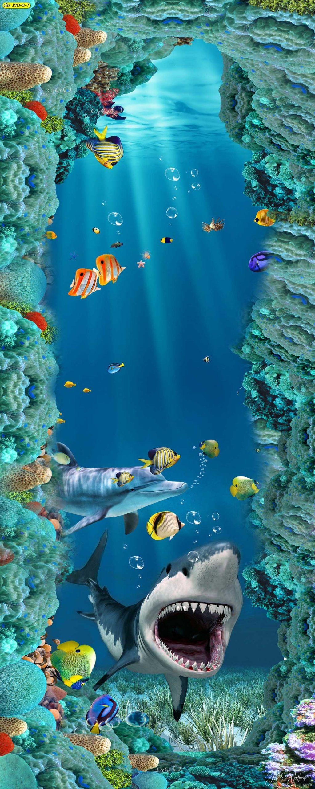 วอลเปเปอร์แนวตั้งฉลามใต้ท้องทะเลสวยๆ วอลเปเปอร์สามมิติ ภาพพิมพ์พื้นหลังสามมิติ
