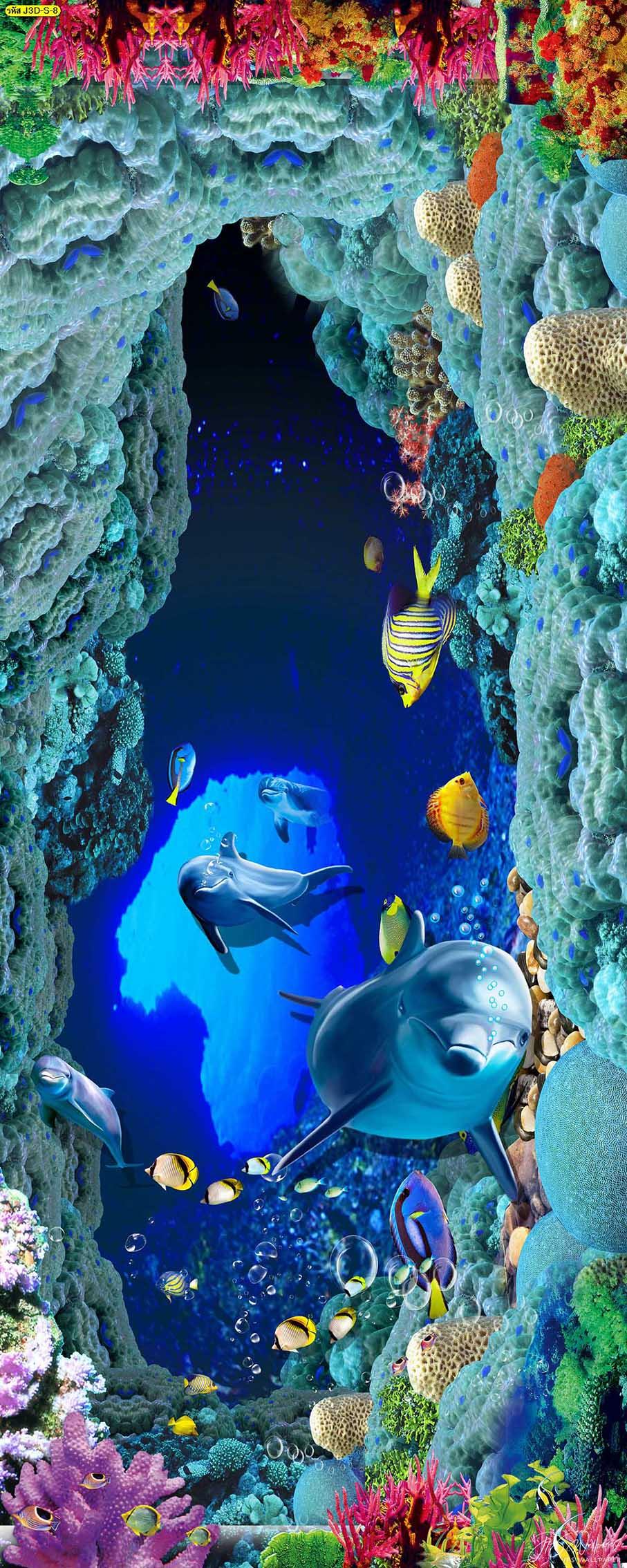 วอลเปเปอร์แนวตั้งโลมาใต้ท้องทะเลสวยๆ วอลเปเปอร์สามมิติ ภาพพิมพ์พื้นหลังสามมิติ