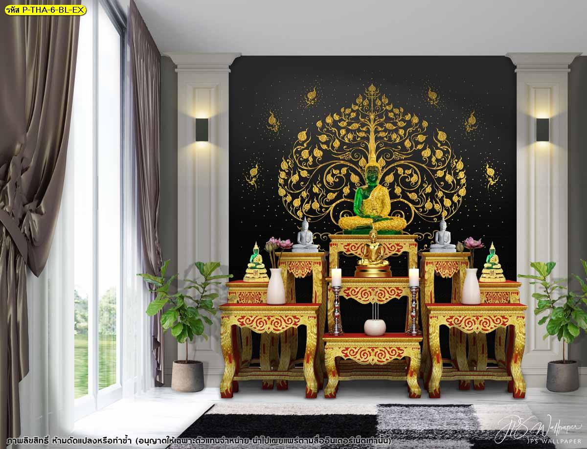 แต่งแต้มผนังห้องพระด้วยภาพสั่งพิมพ์ลายไทย ส่งเสริมศิลปะความเป็นไทย ไอเดียห้องพระลายไทย