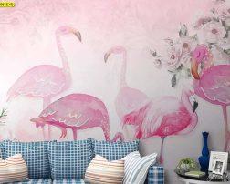 ตกแต่งห้องรับแขกด้วยลายฝูงนกฟลามิงโก้สีชมพูสีสันสดใส