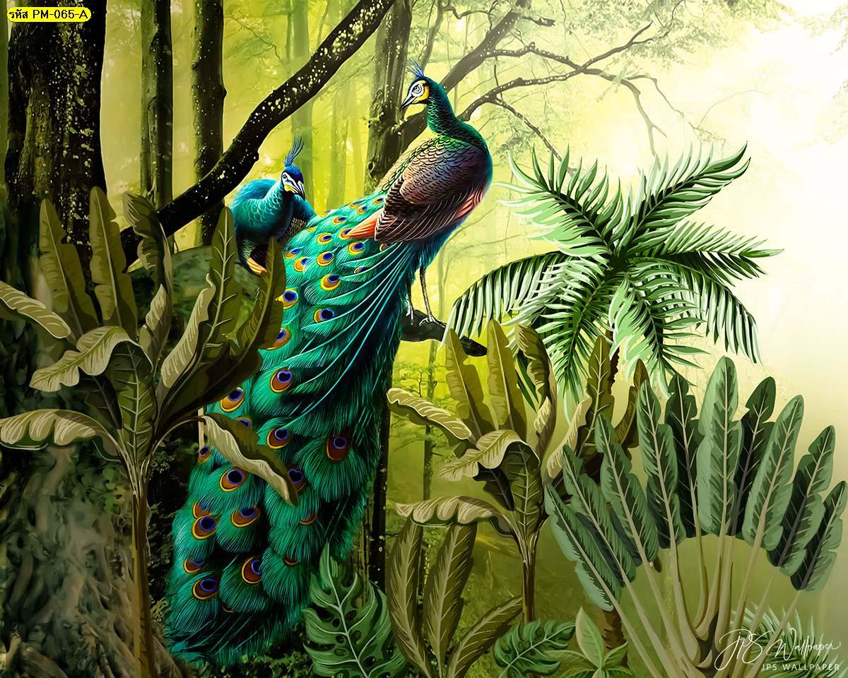 วอลเปเปอร์ภาพวาดลายนกยูงคู่ในป่าโทนสีอบอุ่น วอลเปเปอร์สัตว์มงคล