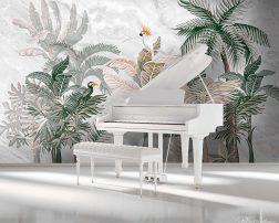 ภาพพิมพ์ต้นไม้สีเขียวในห้อง ทำให้เปียโนสีขาวสวยหรูยิ่งขึ้น วอลเปเปอร์ลายนกมอคค่าเกาะต้นไม้