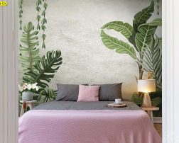 ลดความแข็งทื่อของผนังด้วยแจกันดอกไม้สวยๆ ข้างเตียงนอน ในห้องสไตล์ลอฟท์ วอลเปเปอร์ใบไม้บนผนังปูนเปลือย