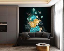 สร้างมิติภายในห้องนั่งเล่นด้วยภาพพิมพ์ลายช่อดอกไม้สีสวย วอลเปเปอร์ช่อดอกไม้และผีเสื้อ