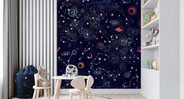 กระตุ้นและเสริมสร้างจินตนาการด้วยสีสันในห้องเล่นเด็ก วอลเปเปอร์การ์ตูนอวกาศพื้นสีดำ
