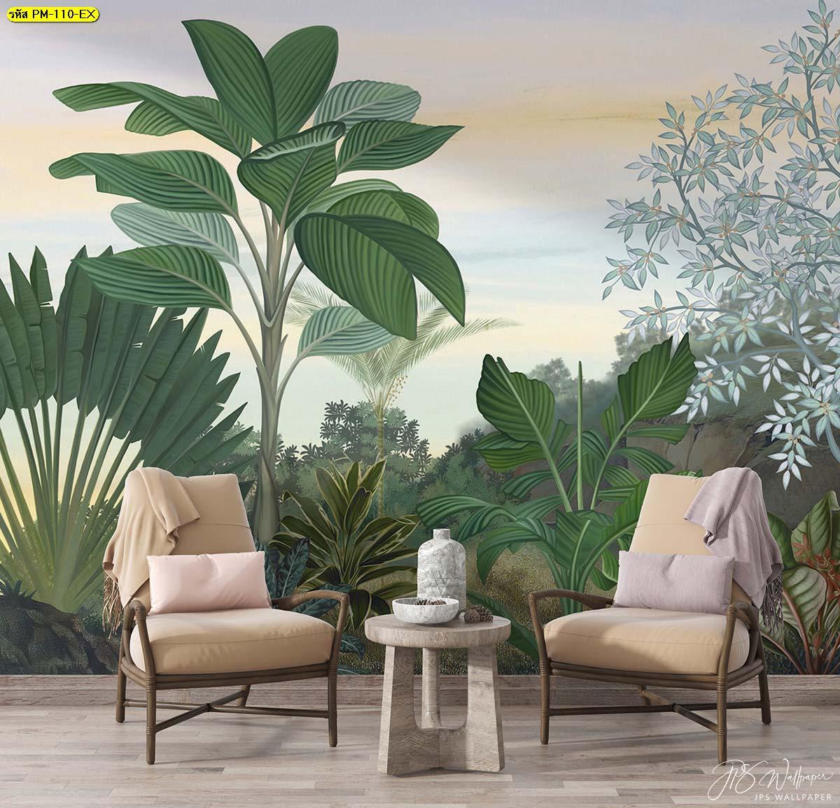 มุมนั่งเล่นพักผ่อนและต้อนรับแขกในบรรยากาศชิวๆ ให้ความเป็นกันเอง วอลเปเปอร์สวนป่านานาพันธุ์